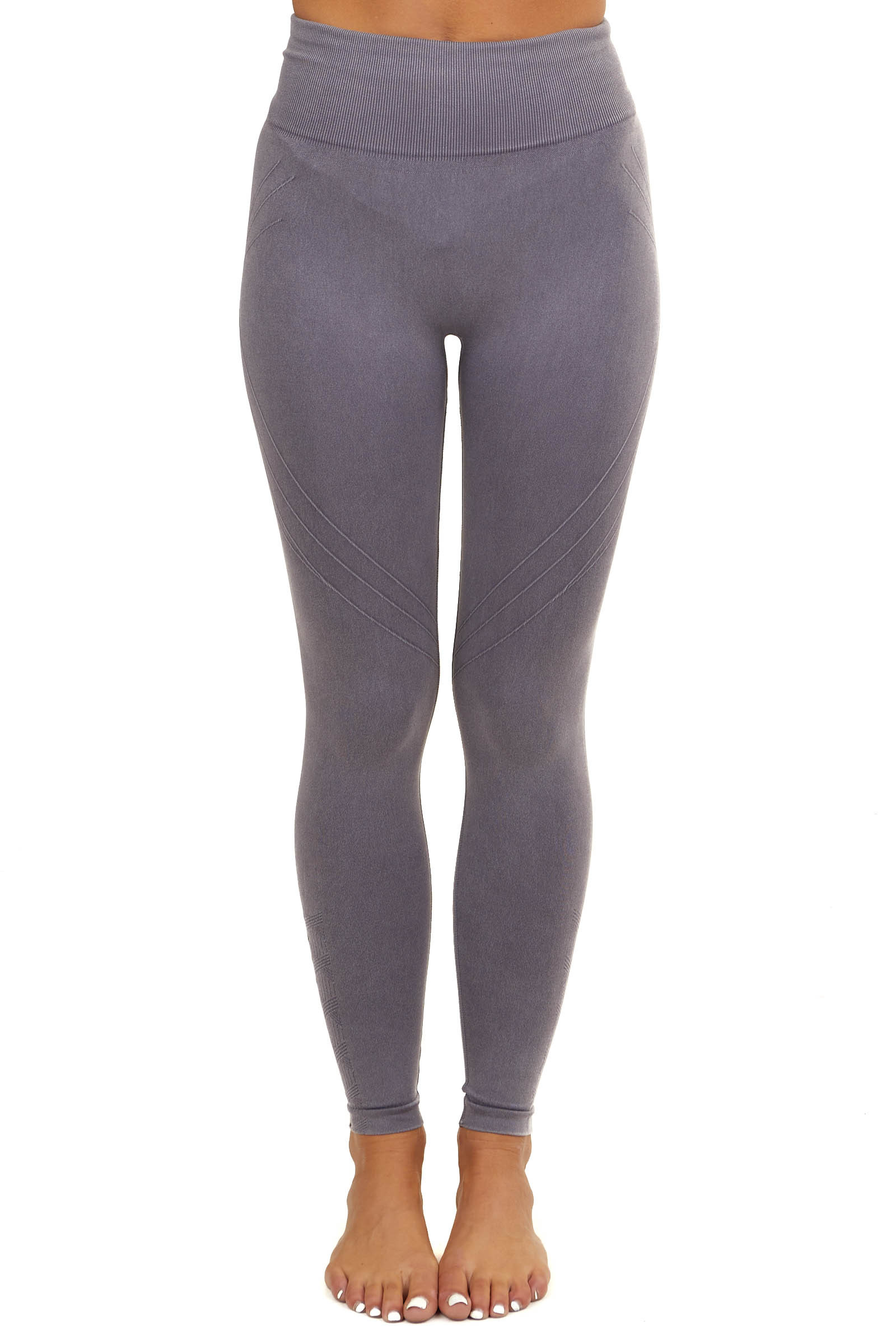 Dusty Purple Knit Leggings with Textured Line Detail