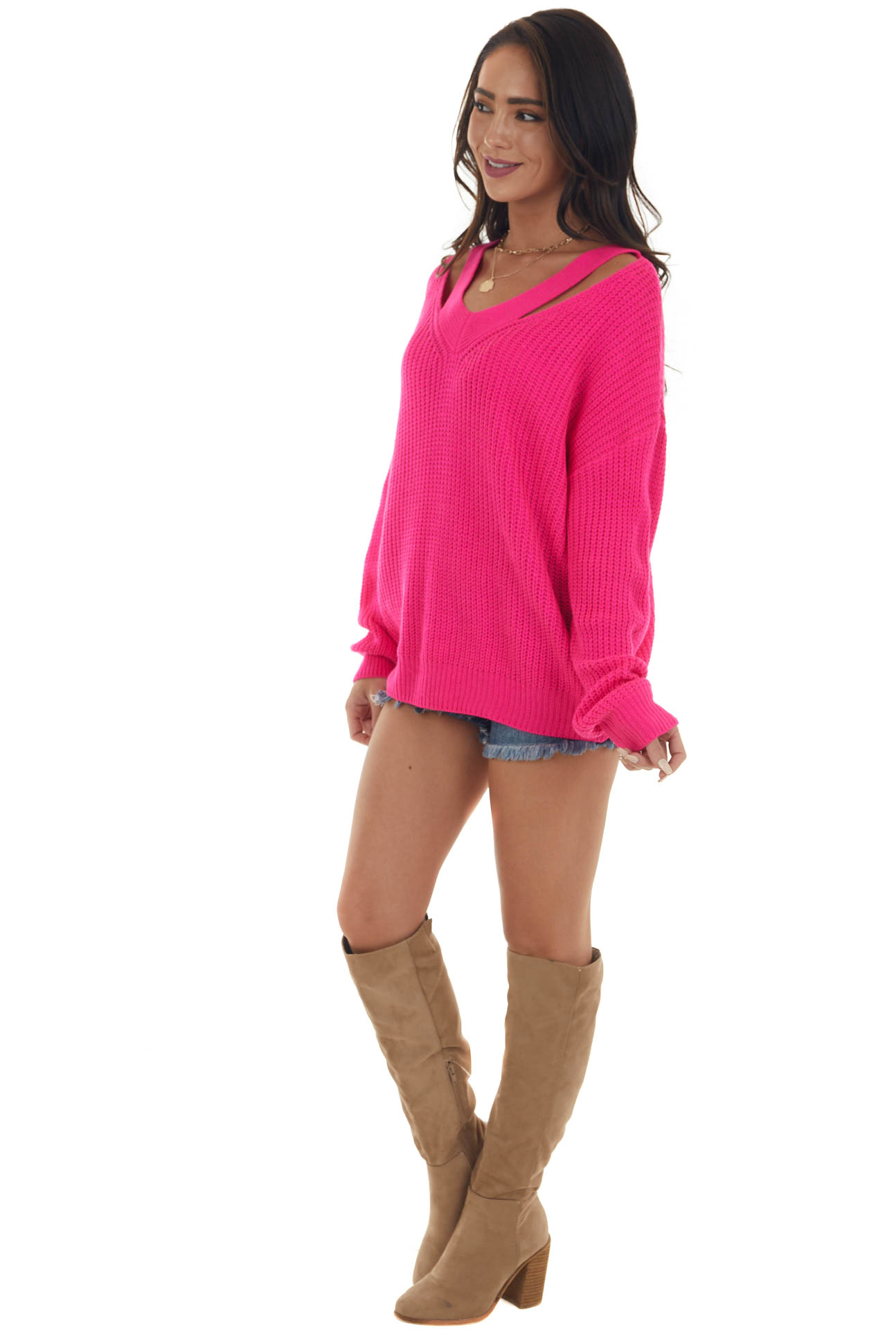 Neon Pink Long Sleeve Sweater with V Neck Cutout Detail