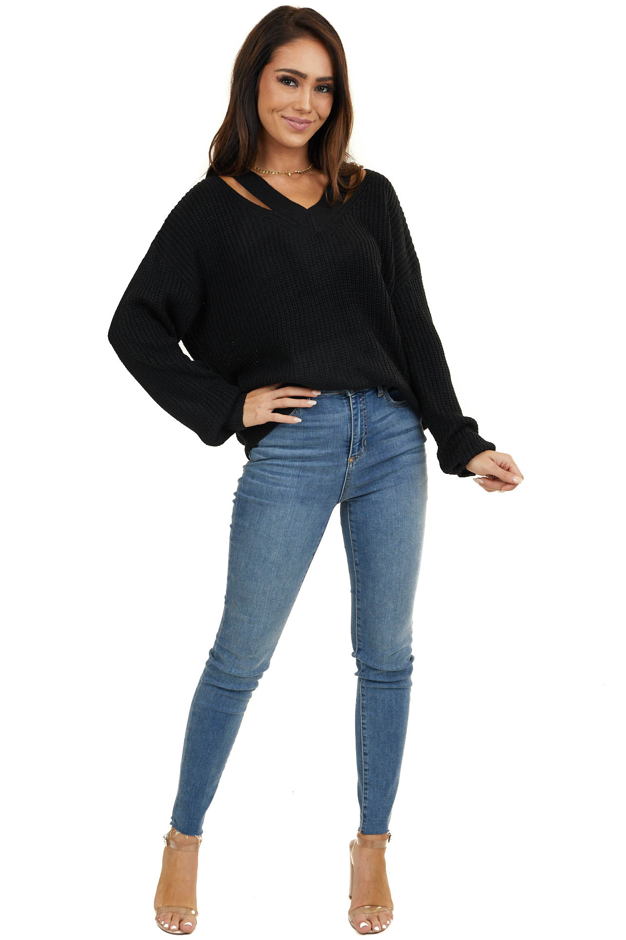 Black Long Sleeve Sweater with V Neck Cutout Detail