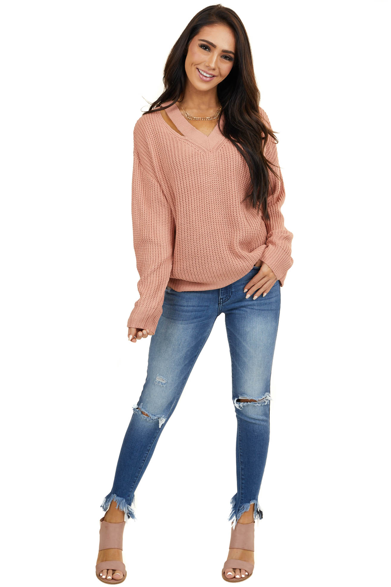 Dusty Blush Long Sleeve Sweater with V Neck Cutout Detail