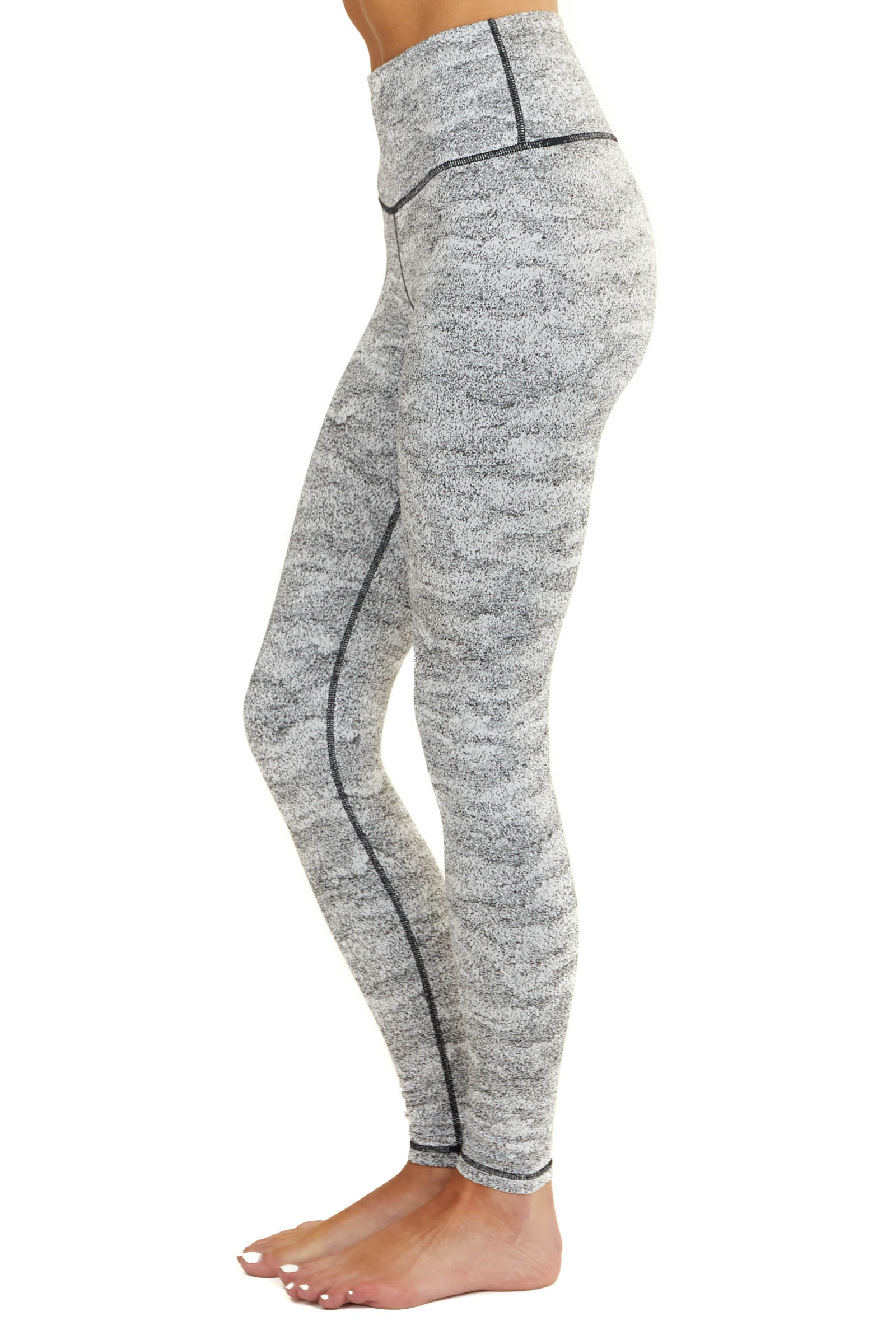 Black and White Printed Knit Leggings with Hidden Pocket