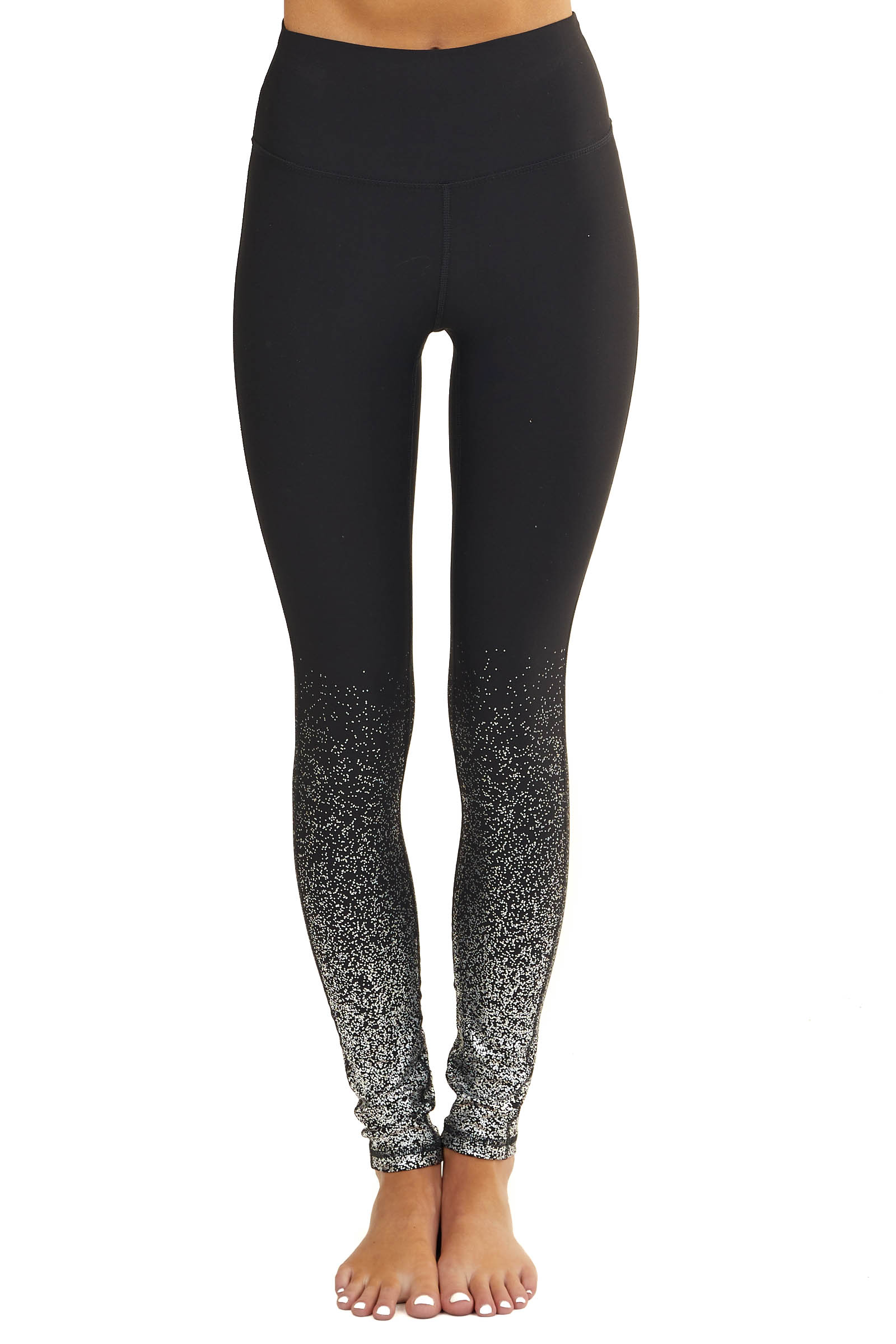 Black Knit Leggings with Silver Metallic Dot Detail