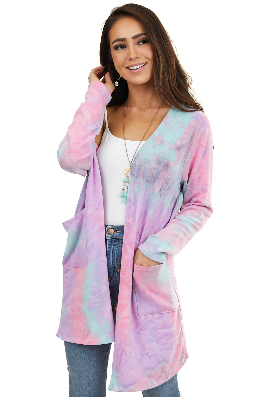 Violet Tie Dye Long Sleeve Cardigan with Front Pockets