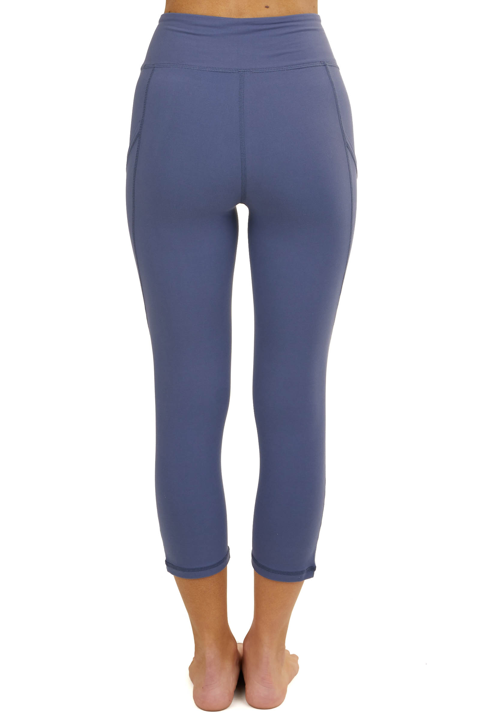 Dusty Blue Soft Stretchy Capri Length Leggings with Pockets