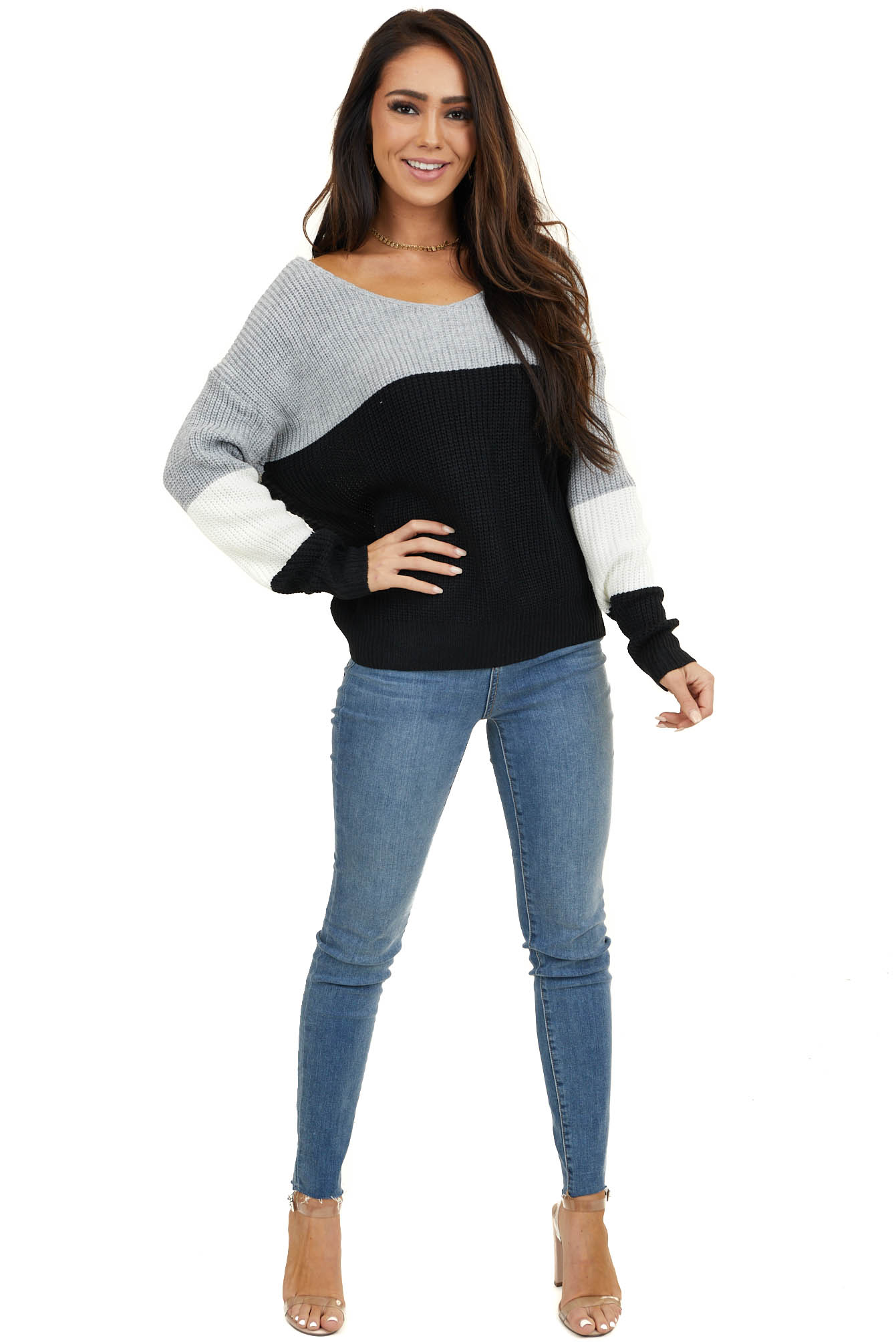Black Colorblock Twisted Back Sweater with Long Sleeves