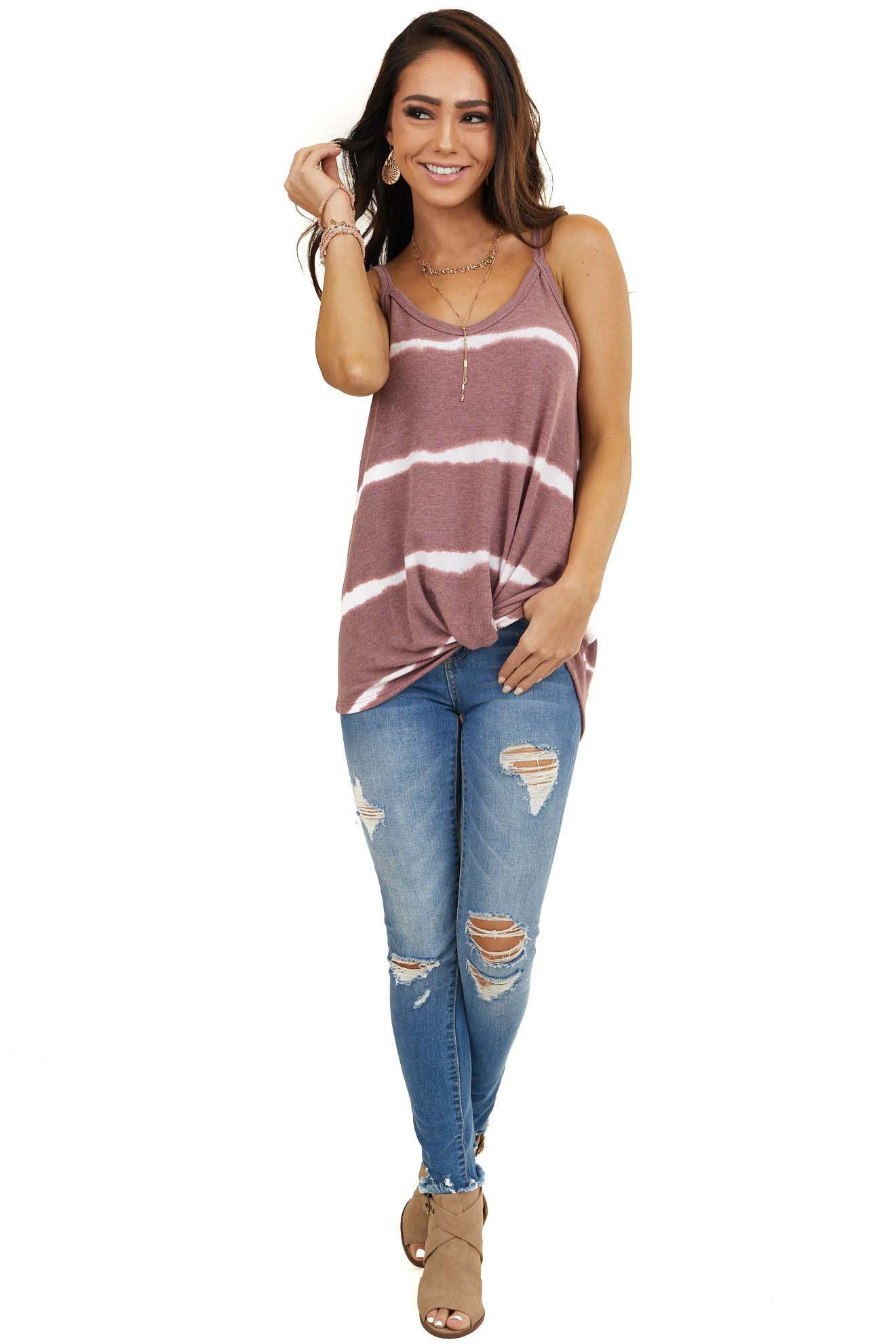 Mauve and White Striped Sleeveless Knit Top with Front Twist