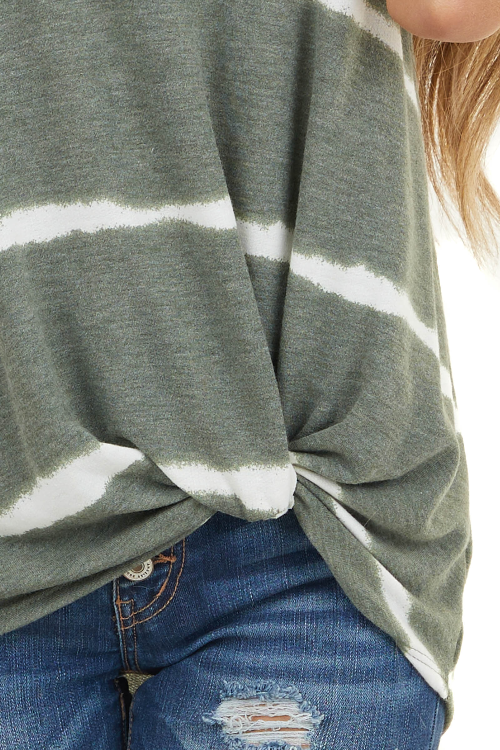 Olive and White Striped Sleeveless Knit Top with Front Twist