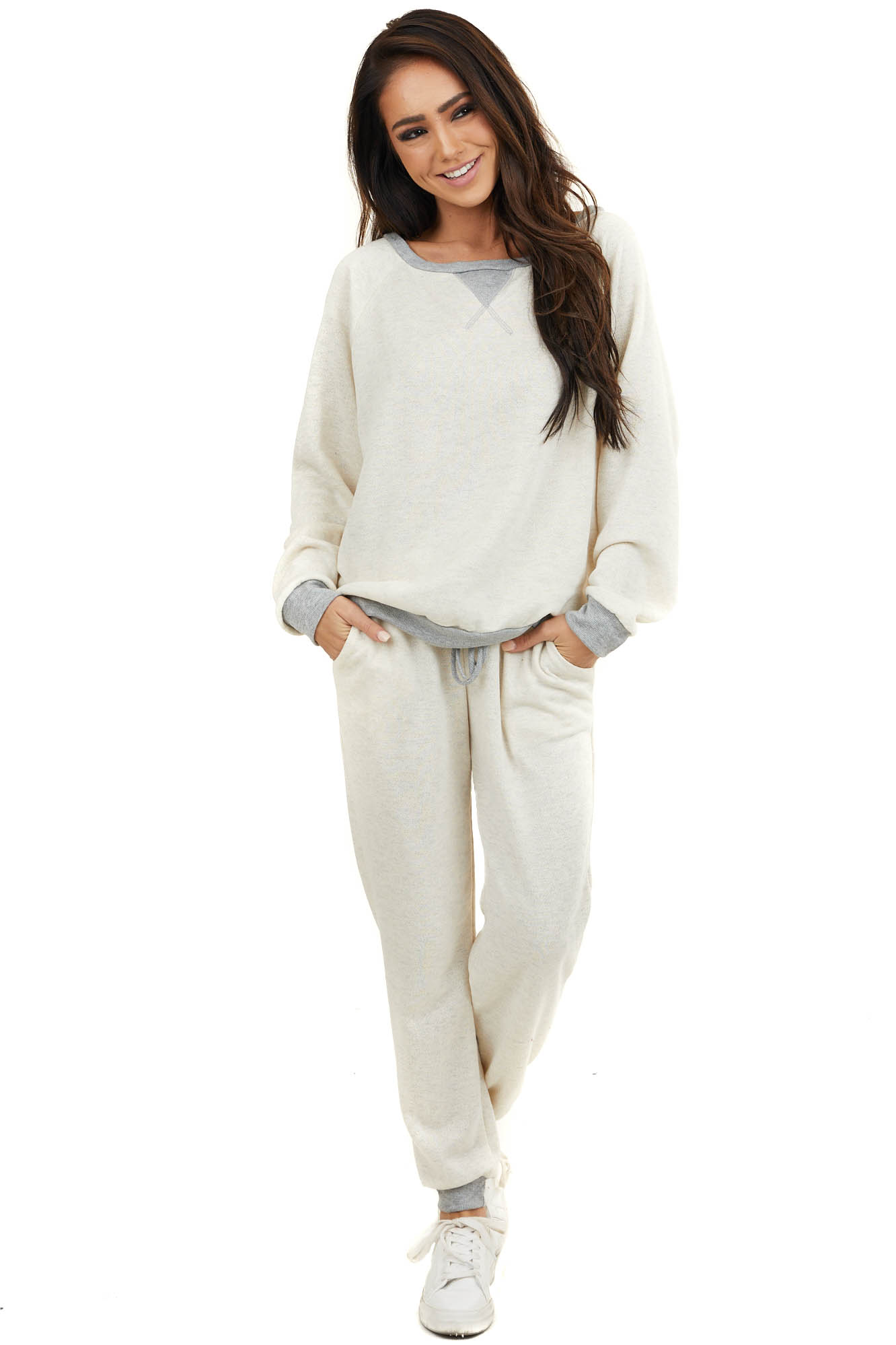 Cream Long Sleeve Loungewear Top with Grey Contrast Trim