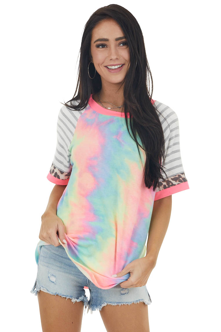 Neon Tie Dye Top with Striped and Leopard Print Sleeves