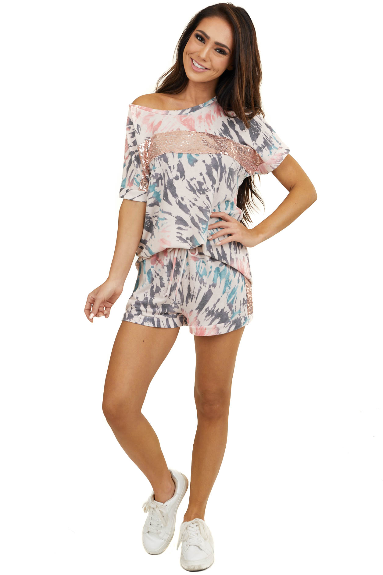 Pink Tie Dye Print Sequin Short Sleeve and Shorts Lounge Set