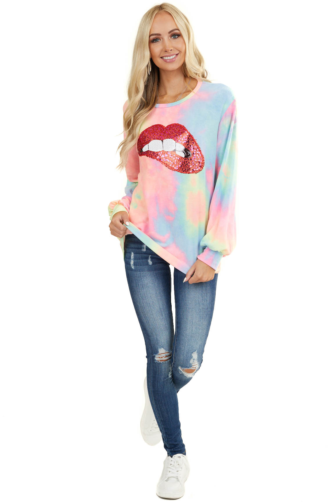 Neon Tie Dye Long Sleeve Top with Red Sequin Lip Graphic