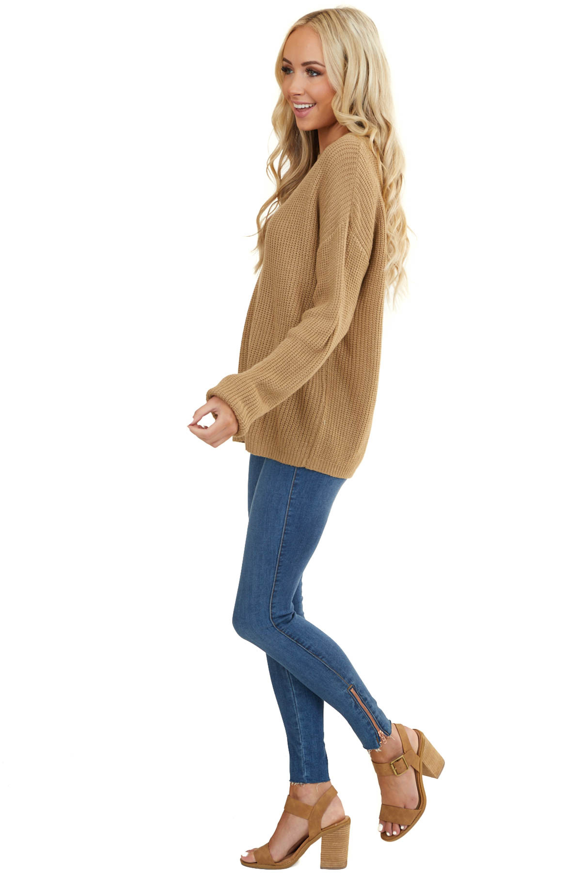 Taupe Thick Knit Casual Sweater with Neckline Cutout