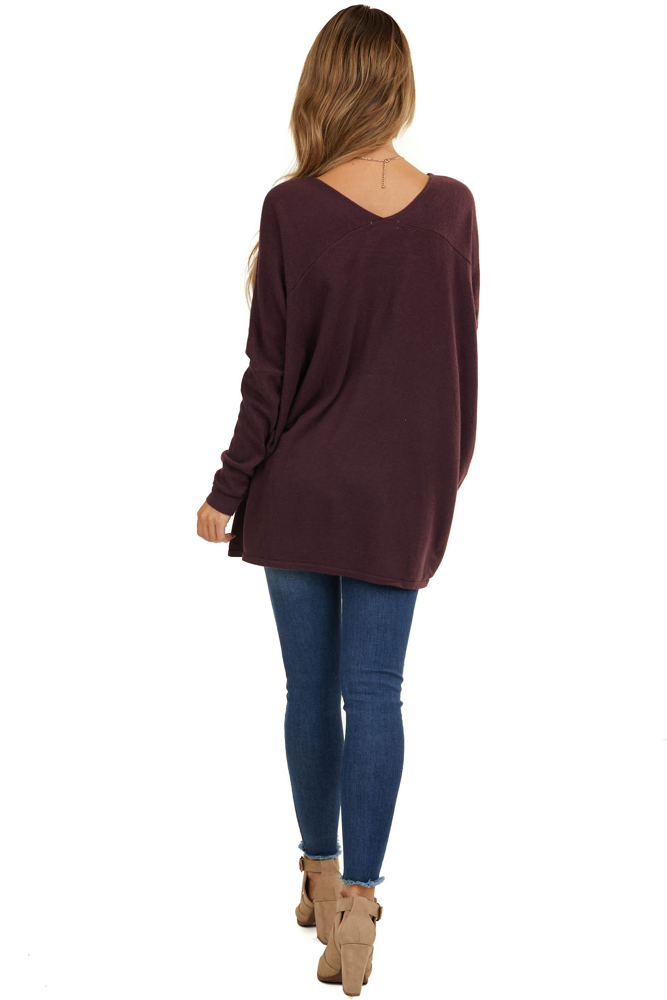 Deep Plum Long Sleeve Top with V Neckline and High Low Hem