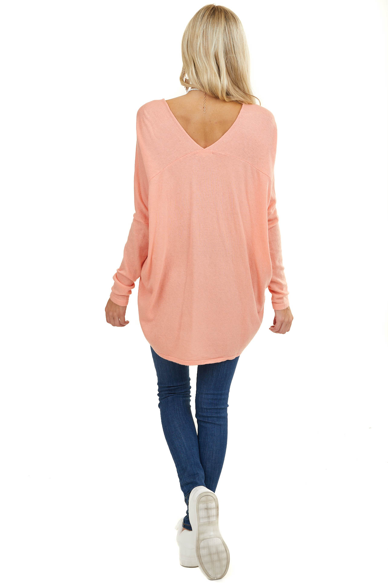 Light Coral Long Sleeve Top with V Neckline and High Low Hem