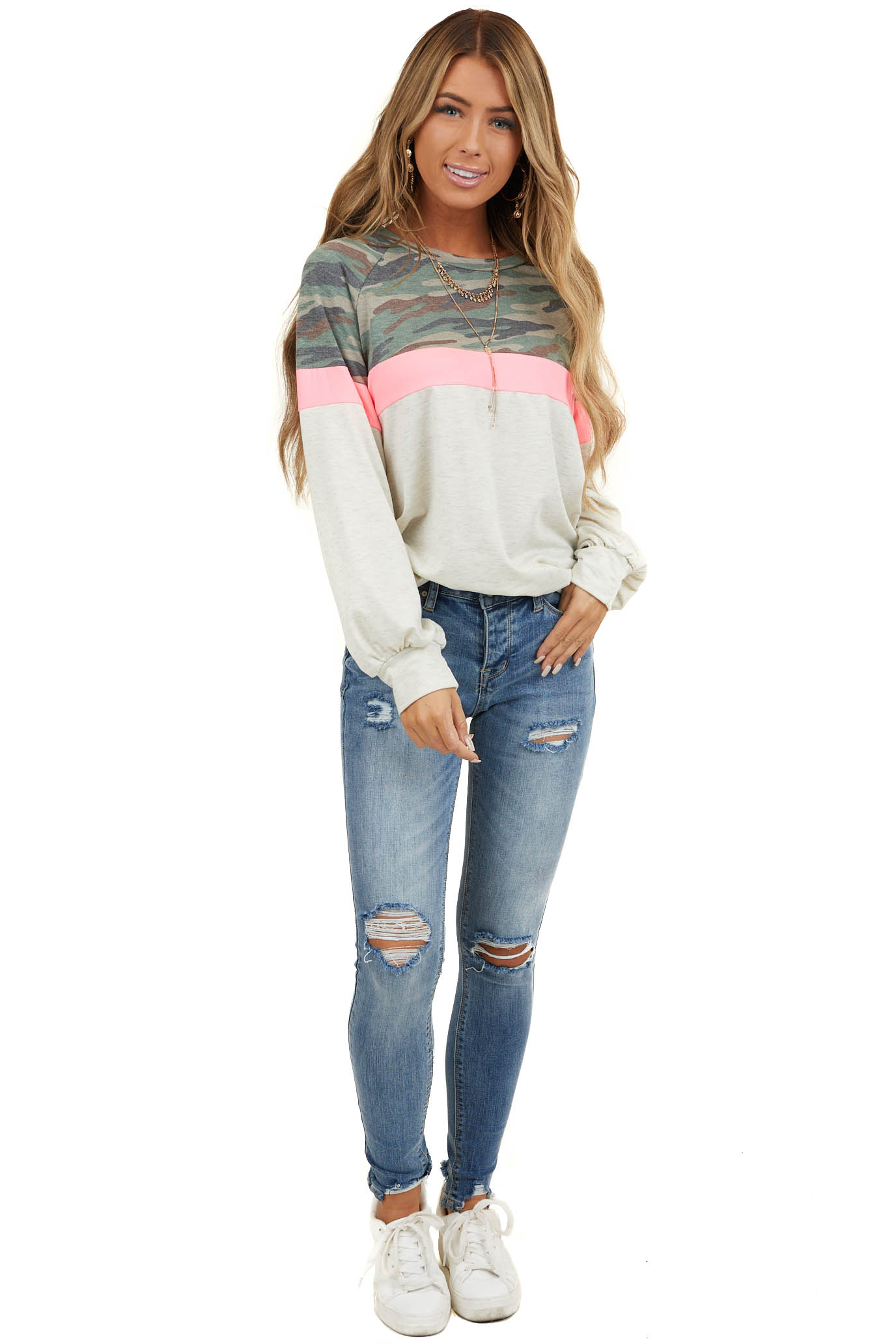 Oatmeal Camo Colorblock Long Sleeve Knit Sweatshirt