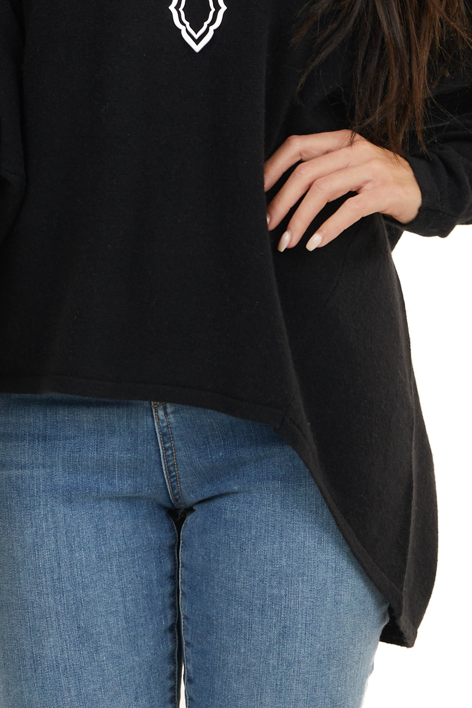 Black Long Sleeve Top with V Neckline and High Low Hem