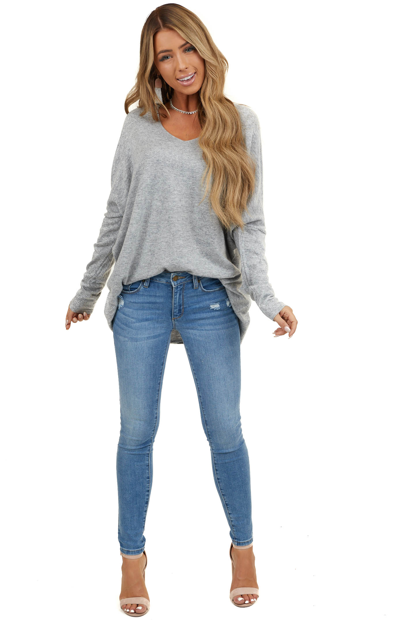 Light Grey Long Sleeve Top with V Neckline and High Low Hem