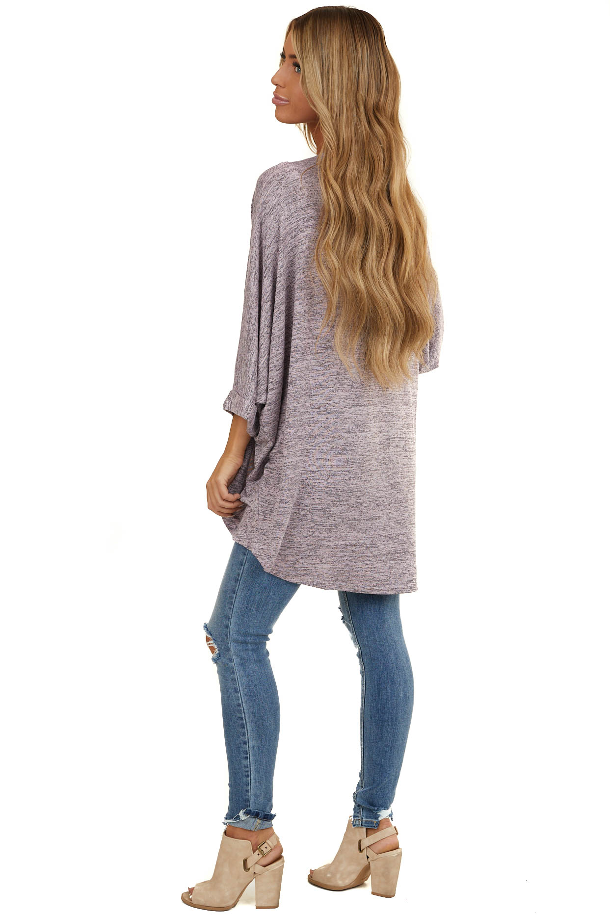 Heathered Mauve High Low Open Cardigan with Dolman Sleeves