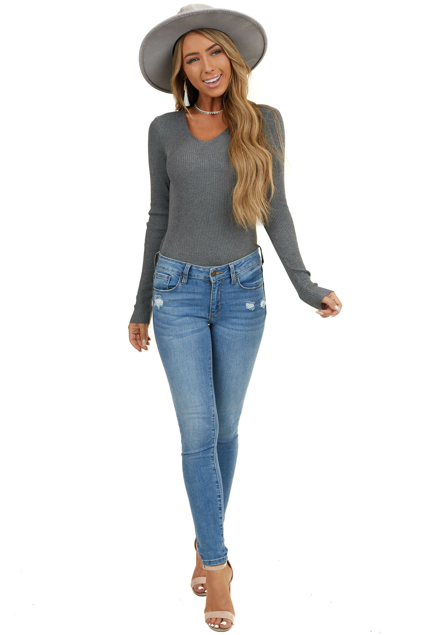 Stormy Grey Ribbed Knit Top with V Neckline and Long Sleeves