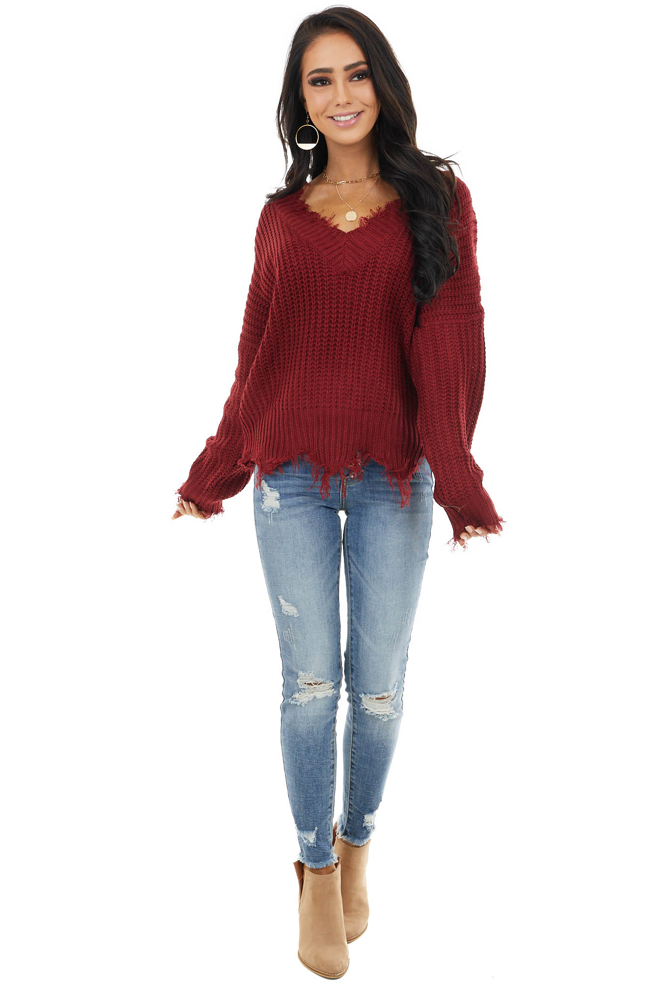 Wine V Neck Sweater with Distressed Detail