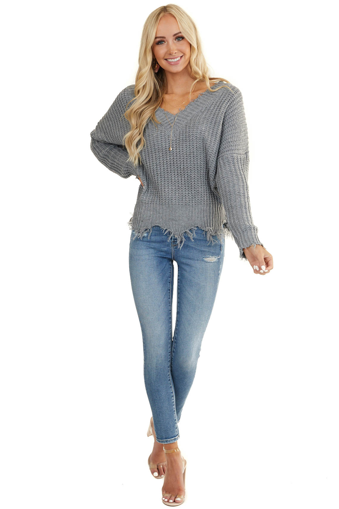 Stone Grey V Neck Sweater with Distressed Detail