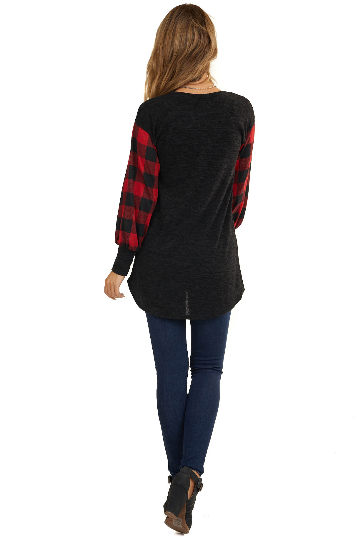 Black Knit Top with Long Sleeves with Red Plaid Pattern
