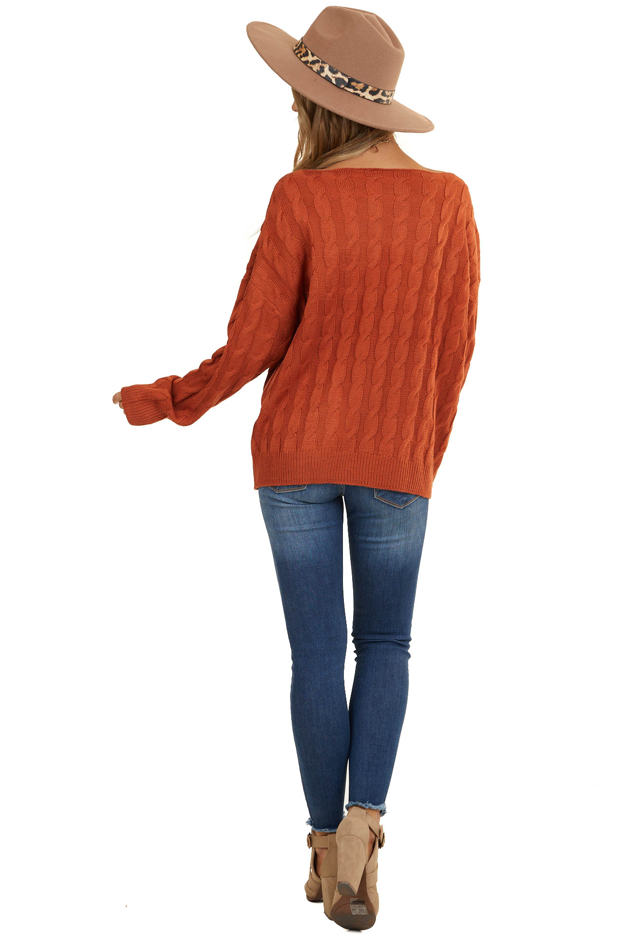 Terracotta Cable Knit Long Sleeve Sweater with Ribbed Hem