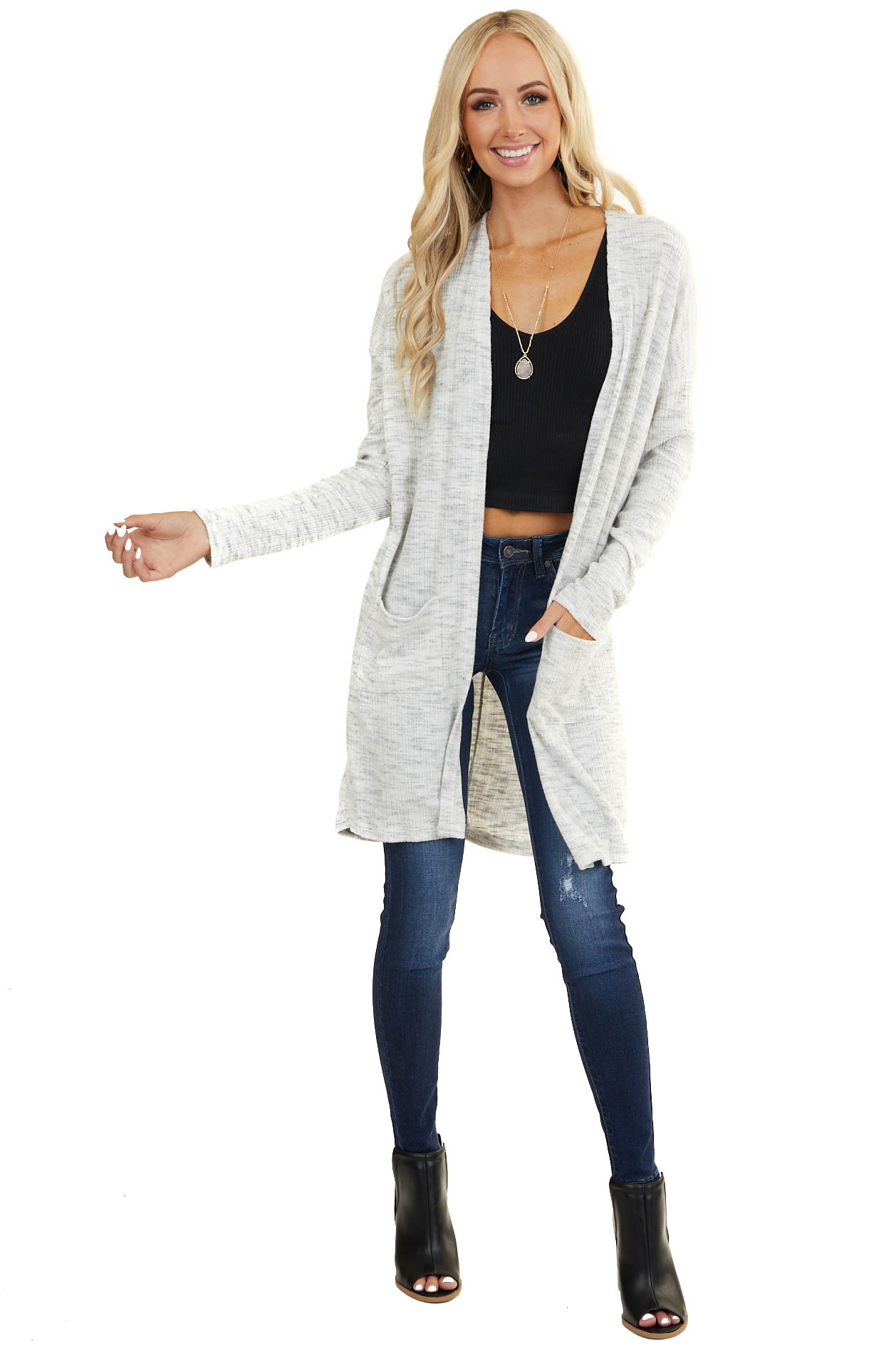 Heathered Grey and Ivory Long Sleeve Cardigan with Pockets