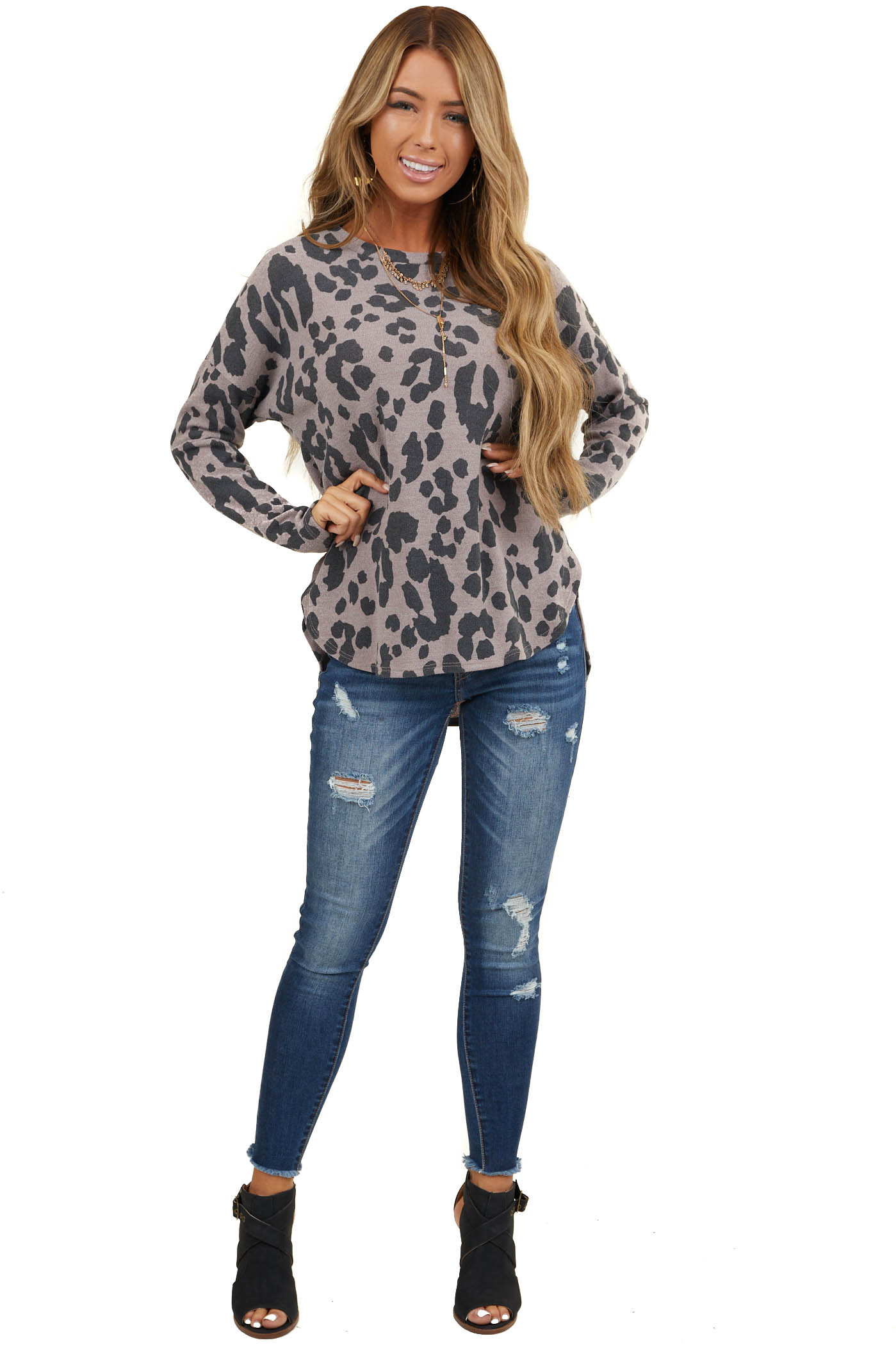 Taupe and Black Large Leopard Print Long Sleeve Knit Top
