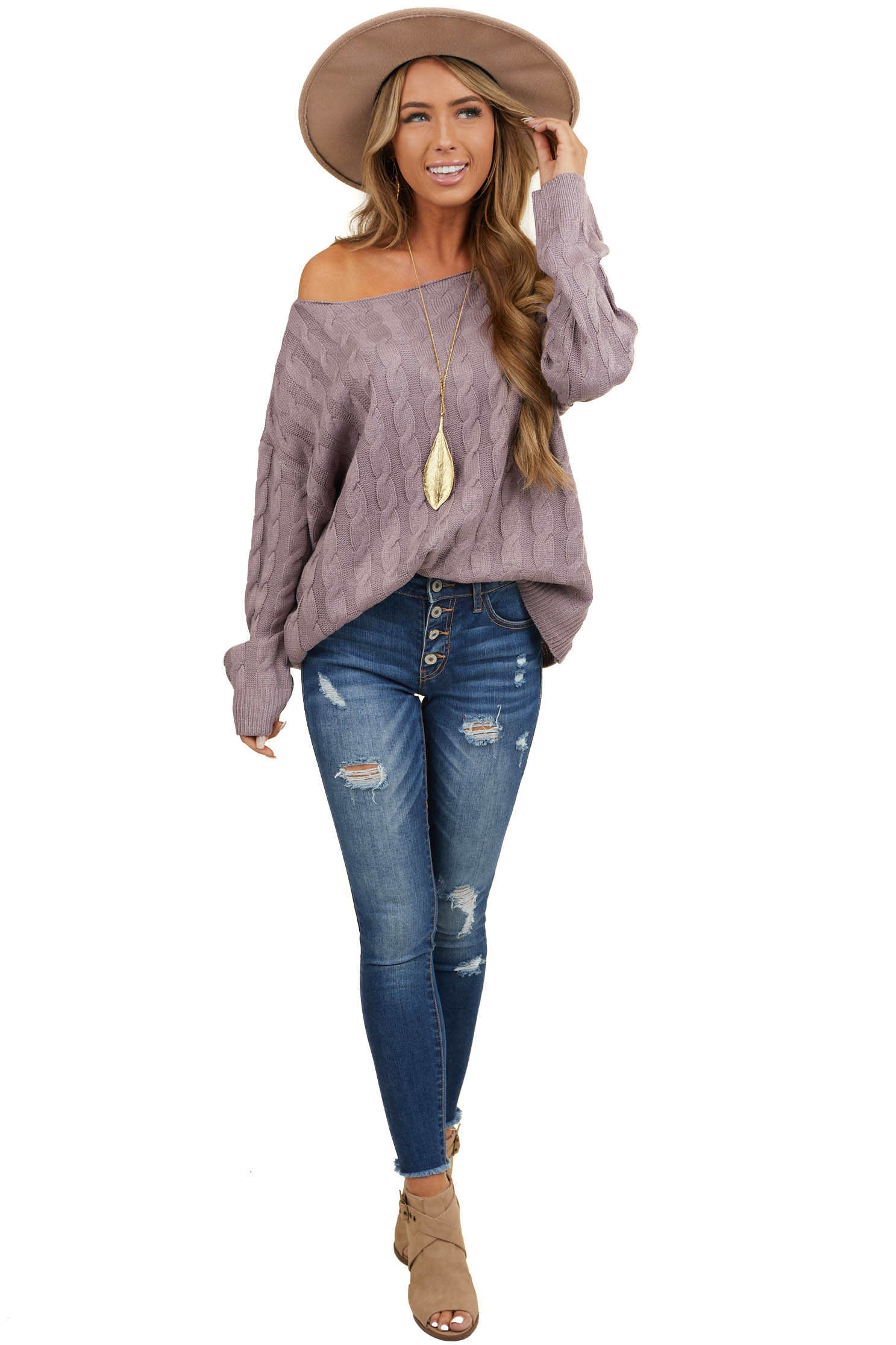 Purple Cable Knit Long Sleeve Sweater with Ribbed Hem