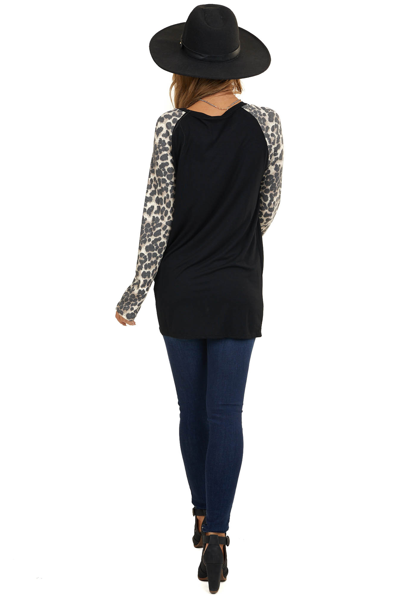 Black Soft Knit Top with Long Leopard Print Sleeves and Knot