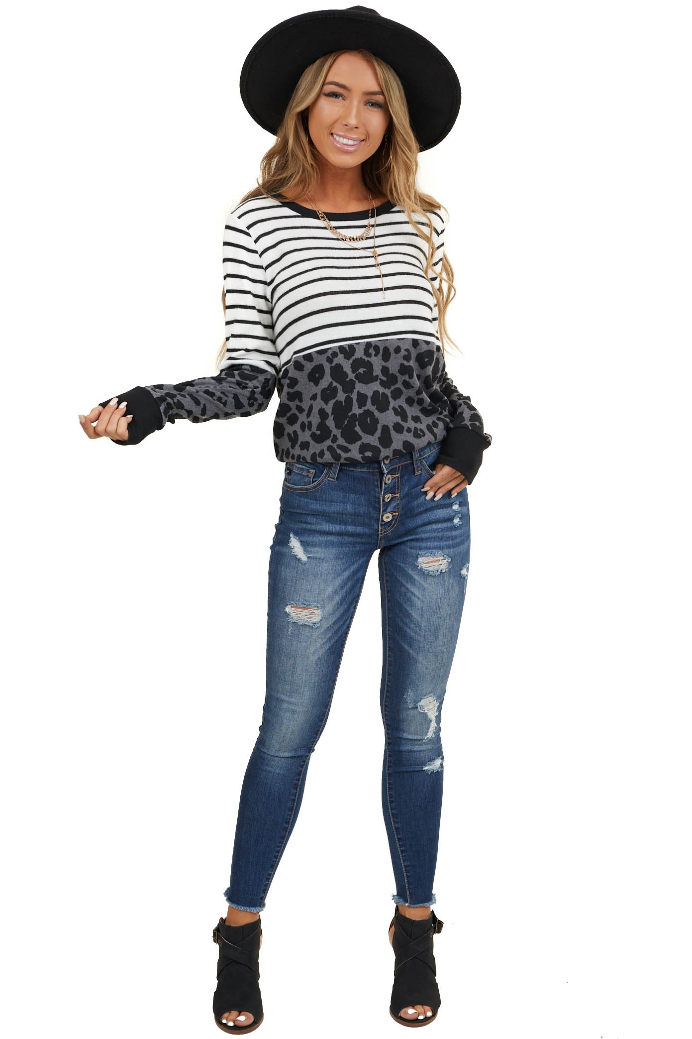 Ivory Stripe Print Long Sleeve Knit Top with Leopard Print