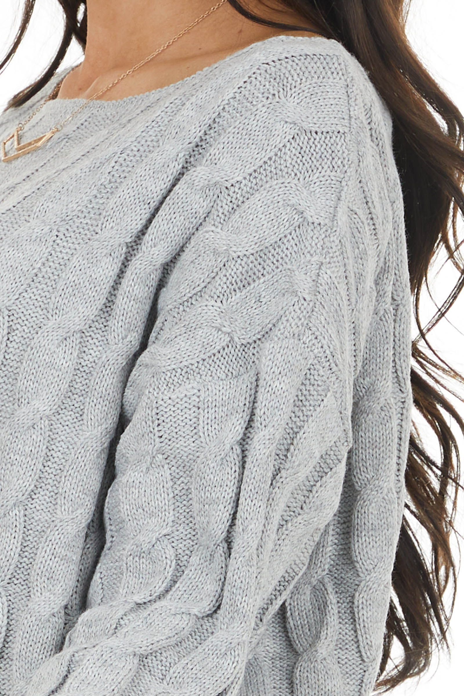 Heather Grey Cable Knit Long Sleeve Sweater with Ribbed Hem