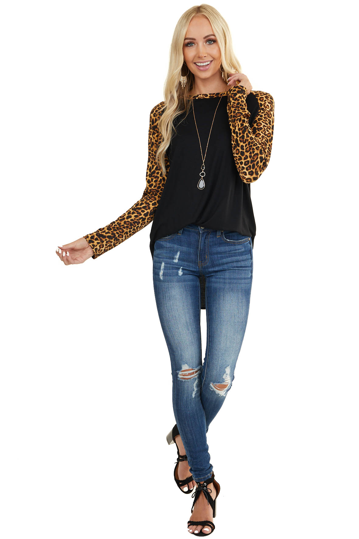 Black Lightweight Knit Top with Long Cheetah Print Sleeves