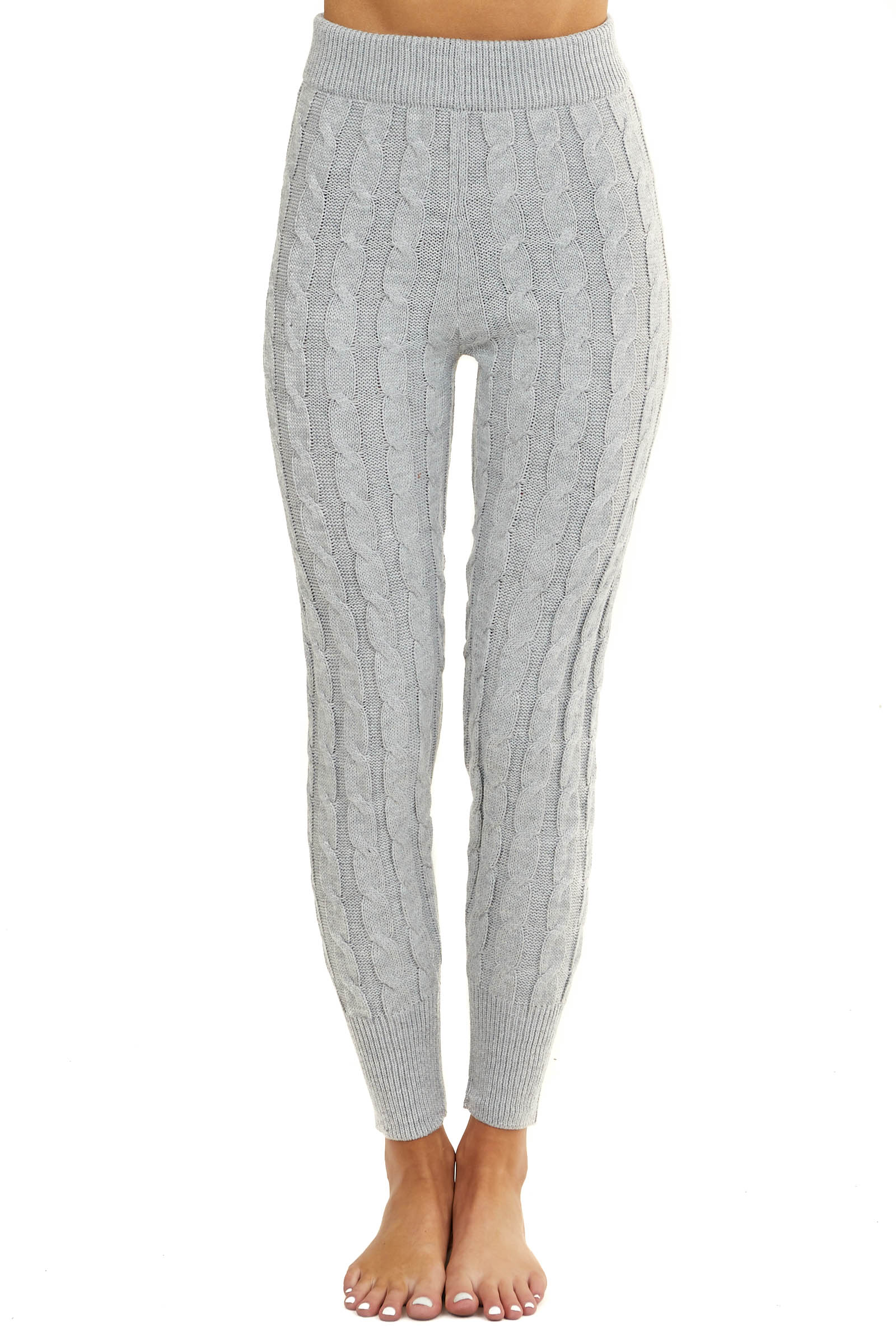 Heather Grey Cable Knit Leggings with Ribbed Hem