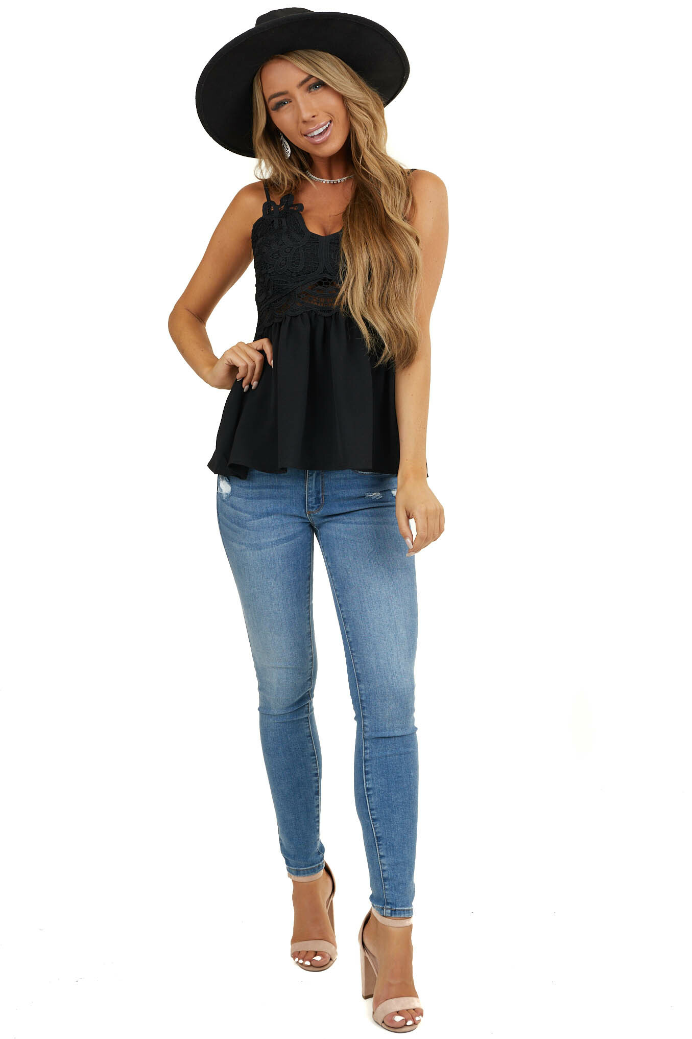 Black Babydoll Top with Lace Bust and Peekaboo Waist