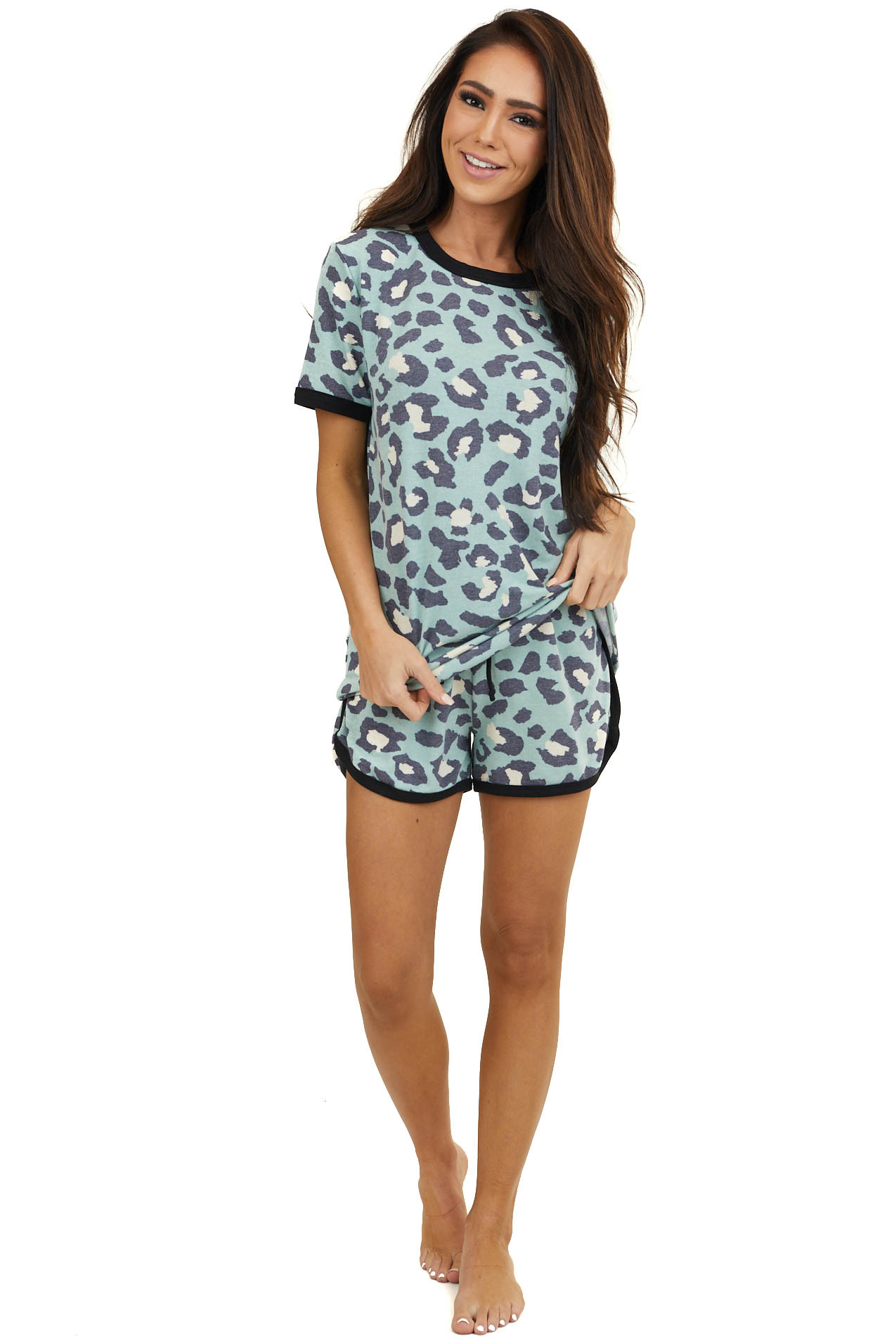 Sky Blue Leopard Print Short Sleeve with Shorts Lounge Set