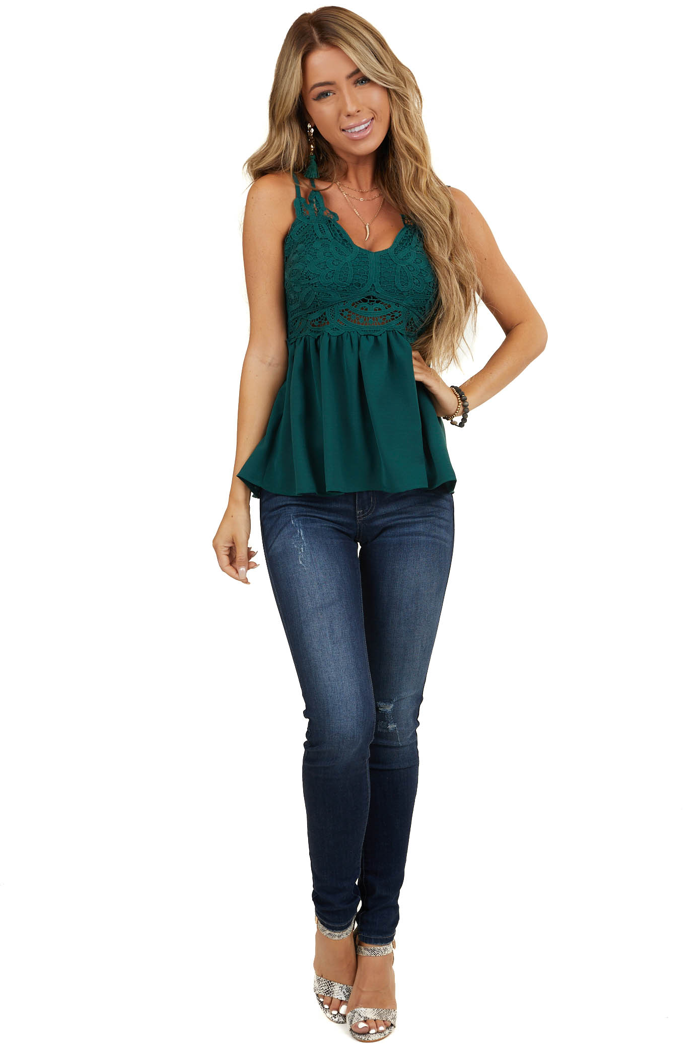 Pine Green Babydoll Top with Lace Bust and Peekaboo Waist