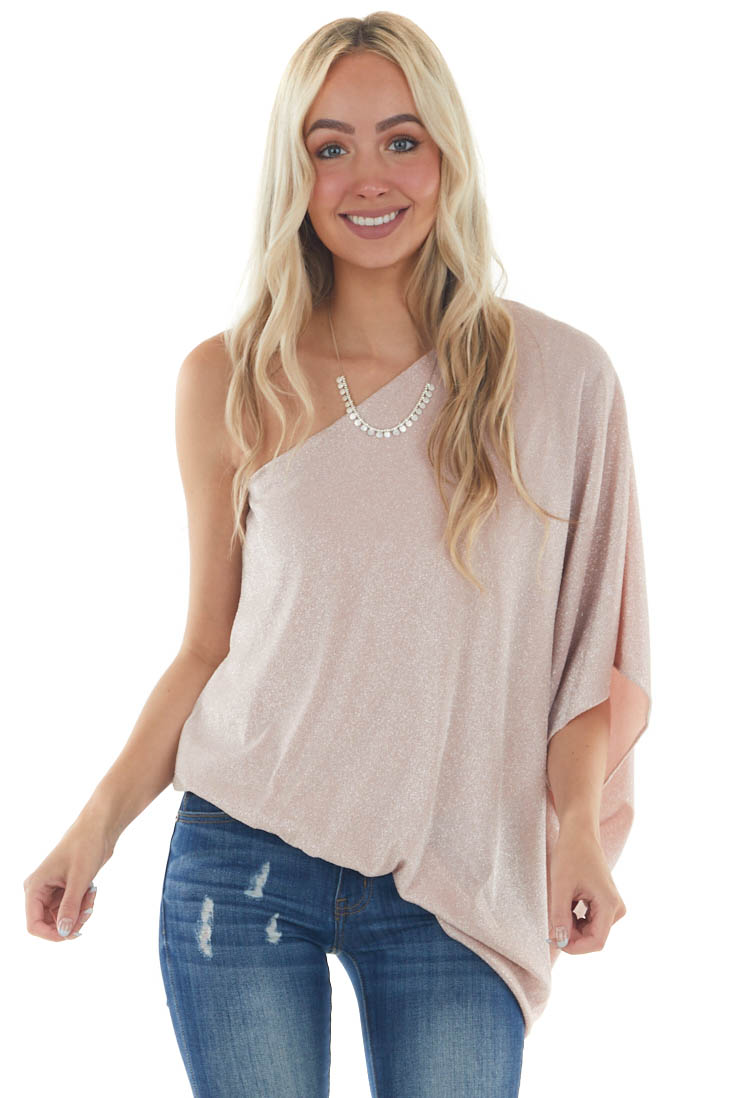 Dusty Blush Sparkly Off The Shoulder Asymmetrical Knit Top