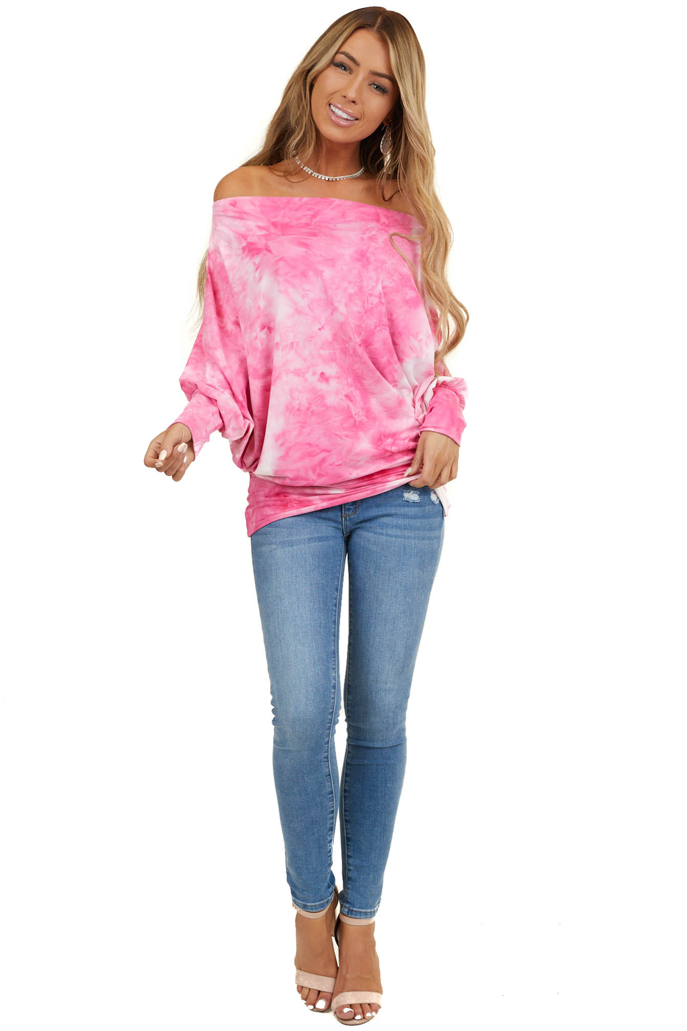 Hot Pink Tie Dye Off Shoulder Knit Top with Dolman Sleeves