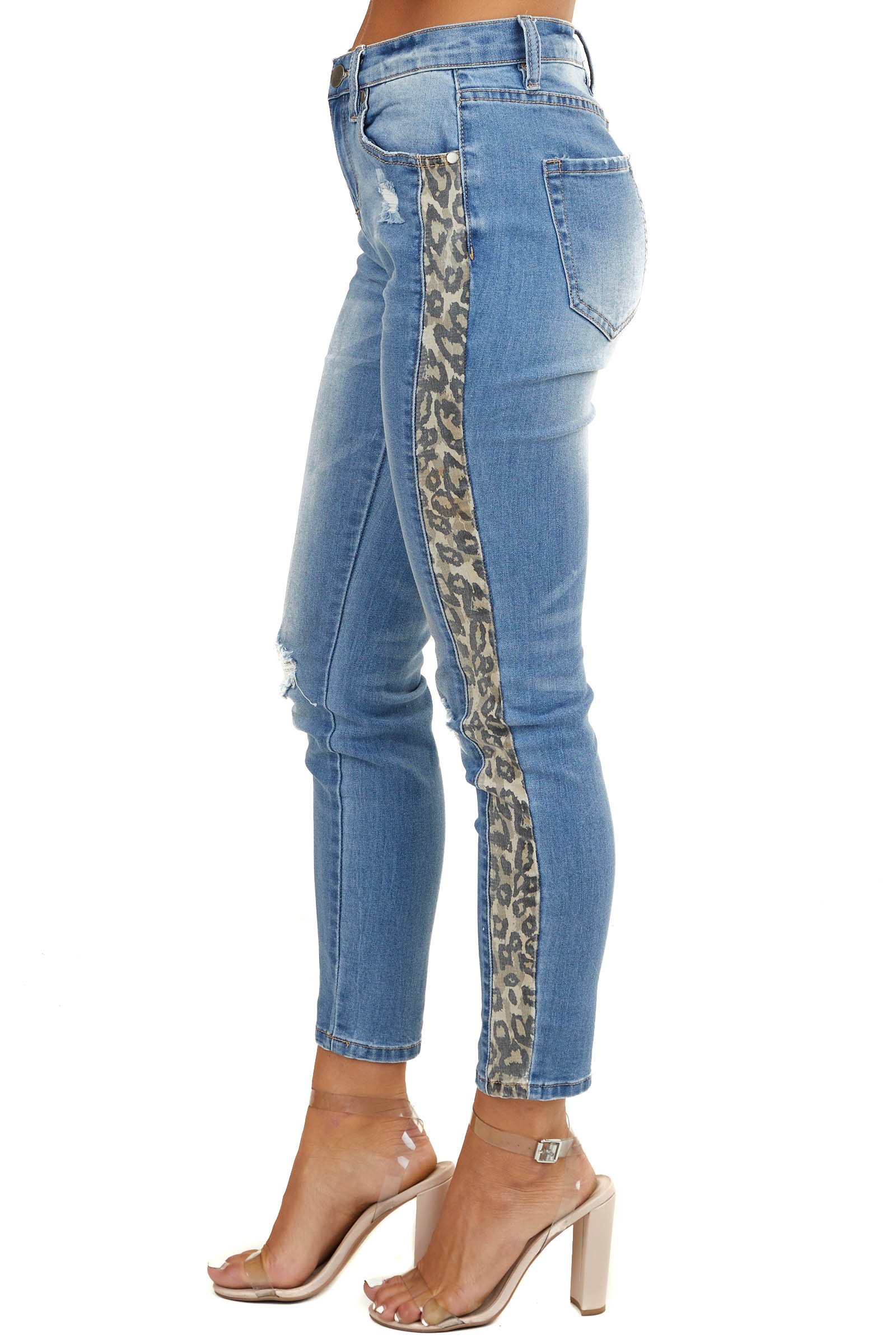 Medium Wash High Rise Denim Jeans with Leopard Print Stripes