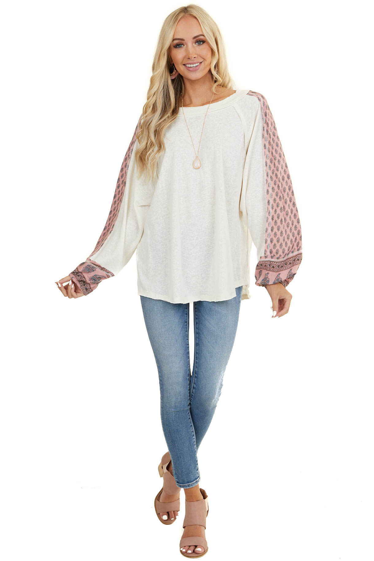 Ivory Long Sleeve Top with Patterned Contrast Detail