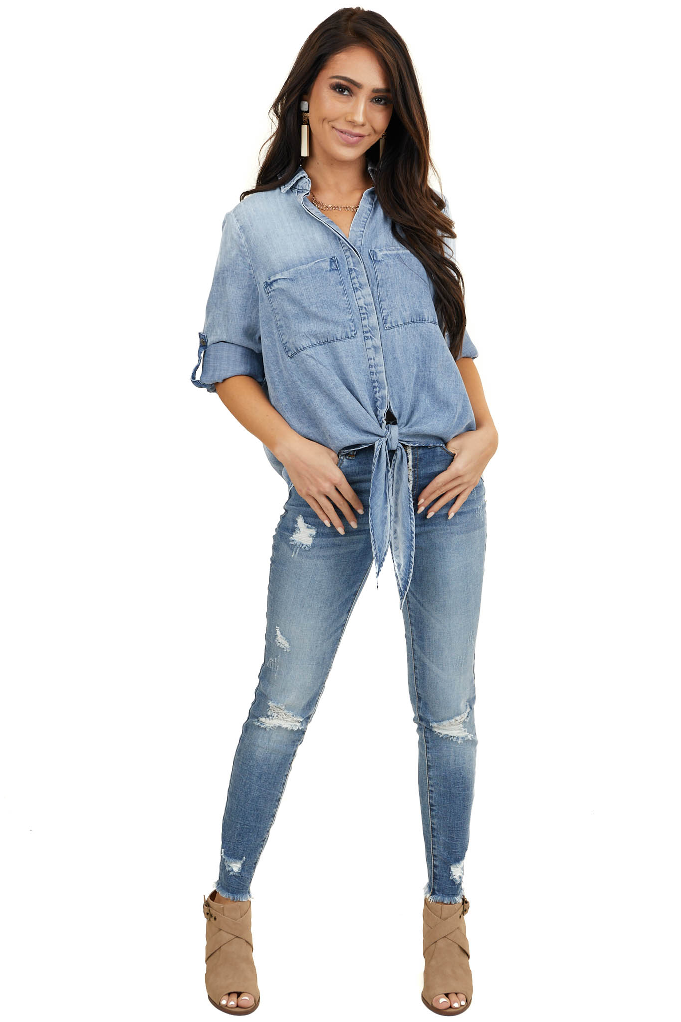 Mid Wash Denim Chambray Top with Long Sleeves and Tie