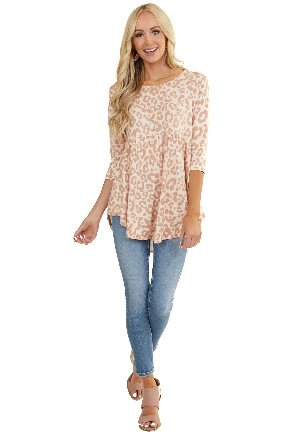 Apricot and Dusty Rose Leopard Print Babydoll Knit Top