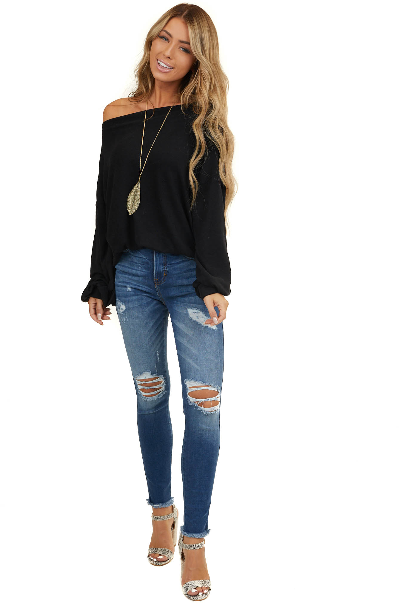 Black Off Shoulder Top with Long Bubble Sleeves