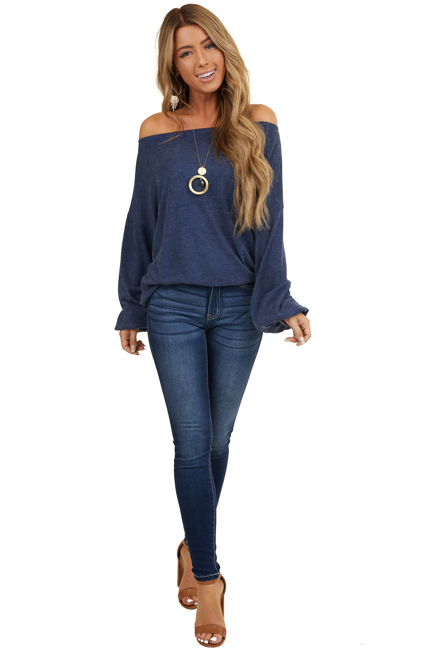 Heathered Dark Blue Off Shoulder Top with Bubble Sleeves