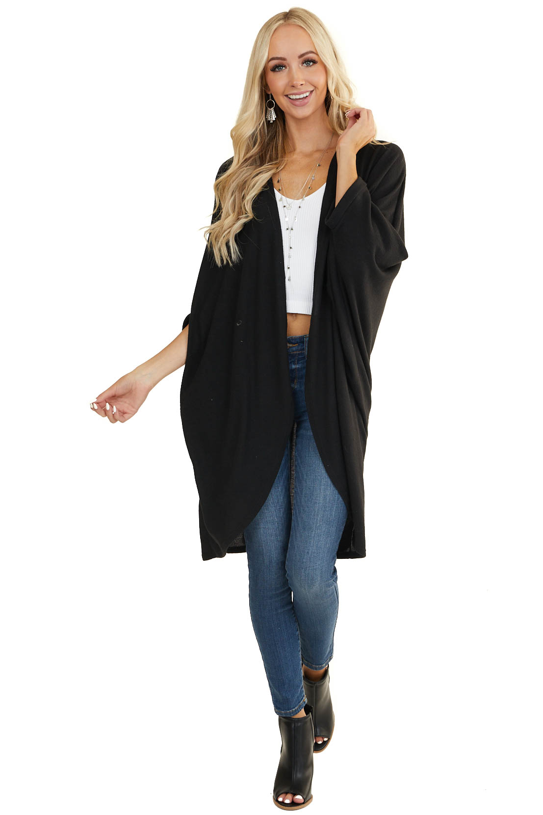 Black Long Knit Cardigan with 3/4 Length Dolman Sleeves