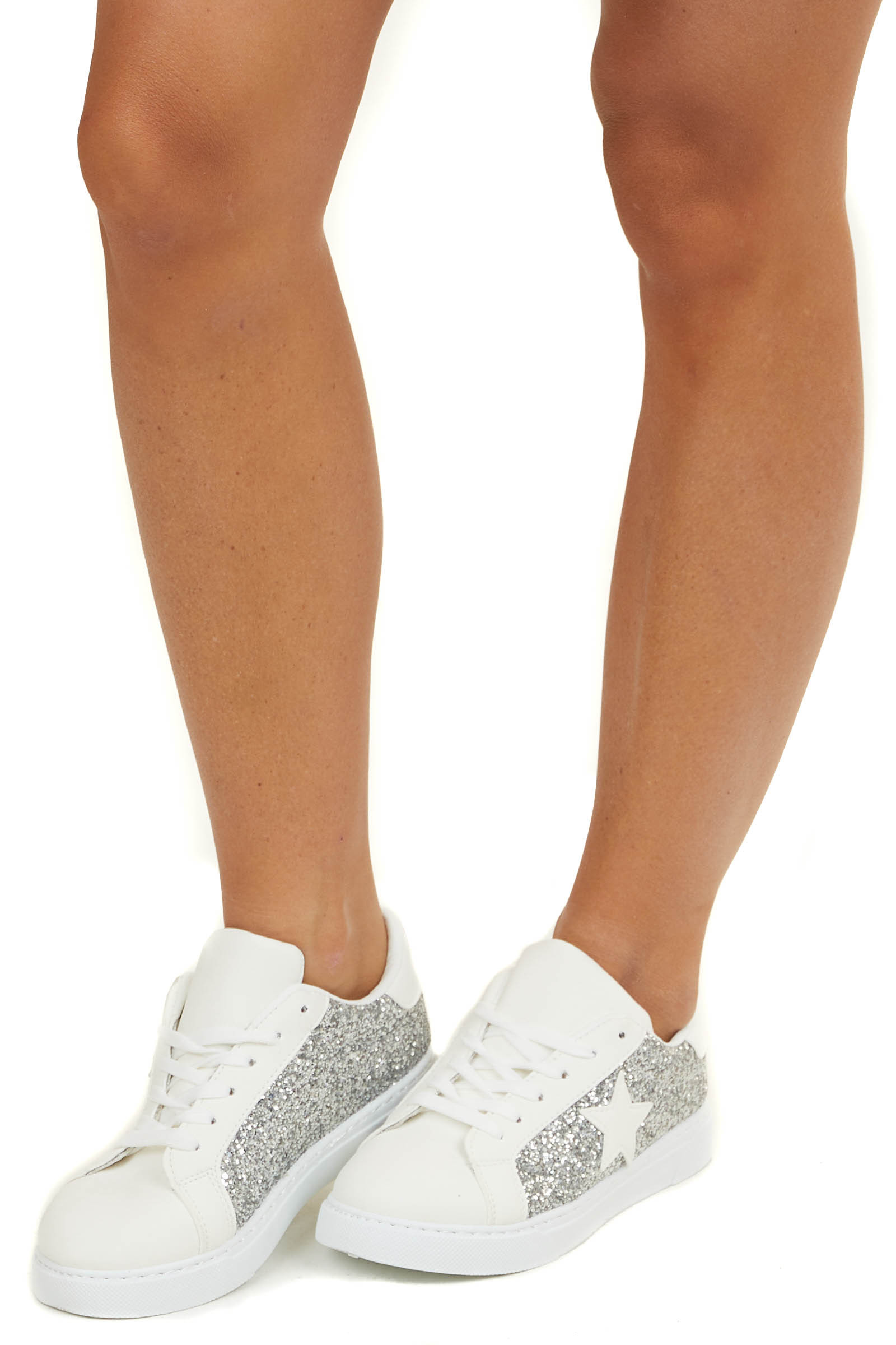 Ivory and Silver Glitter Star Sneakers with Laces