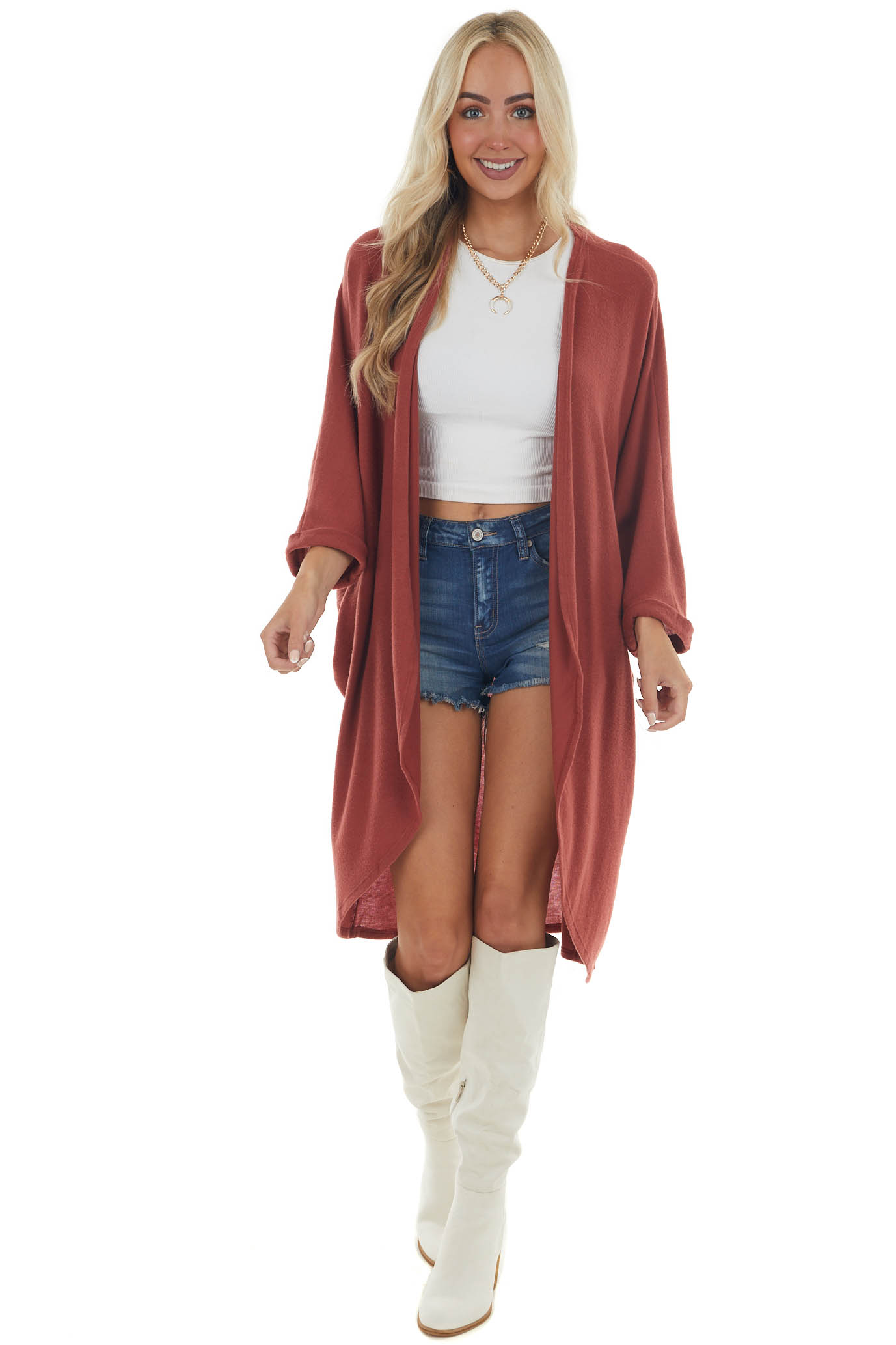 Rust Long Knit Cardigan with 3/4 Length Dolman Sleeves