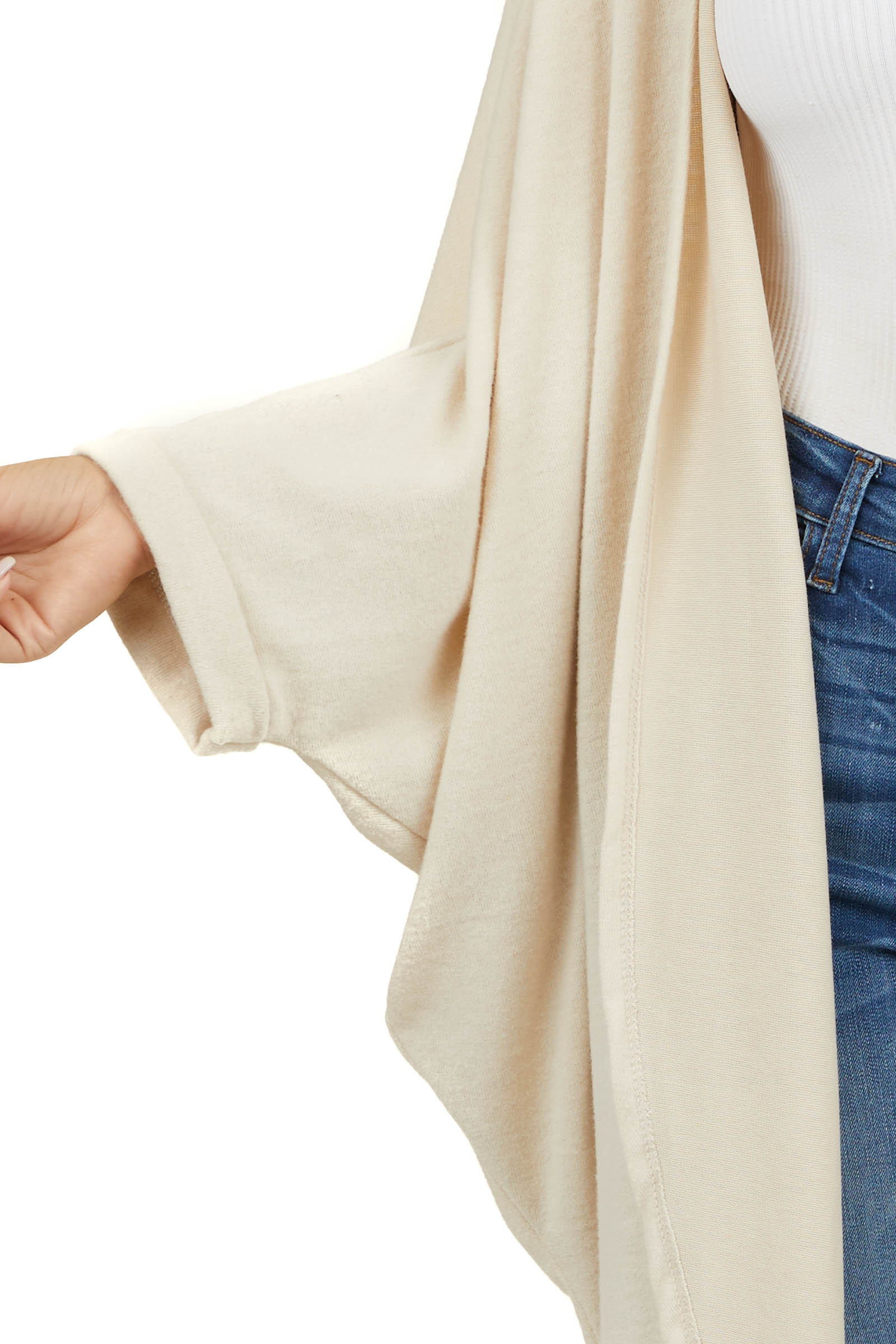 Cream Long Knit Cardigan with 3/4 Length Dolman Sleeves